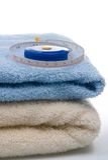 评定堆磁带毛巾 免版税图库摄影