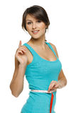 评定她的有一个评定的磁带的妇女腰部 免版税库存图片