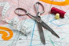 评定的剪刀磁带顶针线程数 免版税库存图片