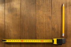 评定铅笔磁带木头 库存照片