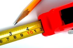 评定铅笔磁带 库存照片