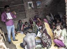 识字类在农村印度 免版税库存照片