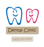 诊所牙齿愉快的徽标 免版税库存照片