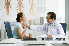 诊断喉咙痛 图库摄影