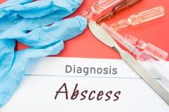 诊断脓肿 蓝色手套、外科解剖刀、注射器和细颈瓶有医学的在题字脓肿旁边说谎 原因, sympt 图库摄影