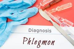诊断蜂窝织炎 蓝色手套、外科解剖刀、注射器和细颈瓶有医学的在题字蜂窝织炎旁边说谎 原因, sym 图库摄影