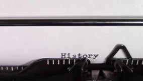 词'历史101'被键入在打字机 影视素材