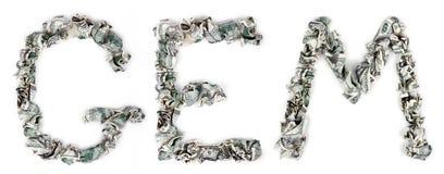 宝石-起皱的100$票据 图库摄影