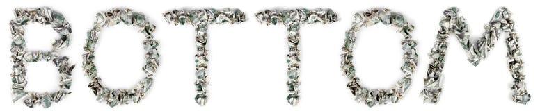 底部-起皱的100$票据 免版税图库摄影