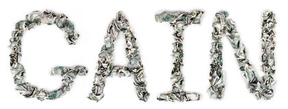 获取-起皱的100$票据 免版税库存照片