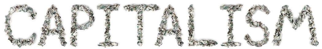 资本主义-起皱的100$票据 库存照片