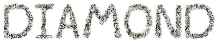 金刚石-起皱的100$票据 免版税库存照片