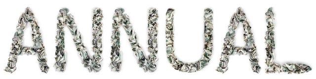 每年-起皱的100$票据 图库摄影