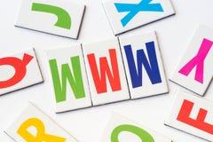词万维网由五颜六色的信件做成 库存照片