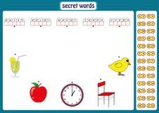 词为孩子,与数字代码的教育比赛困惑 工作表 库存图片
