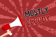 词主要多云文字的文本 拿着扩音机的朦胧的蒸汽有雾的蓬松暧昧云彩Skyscape人的企业概念 向量例证