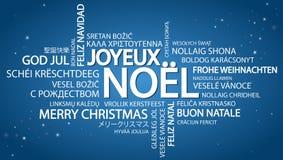 词云彩圣诞快乐& x28; 在French& x29; 免版税库存图片