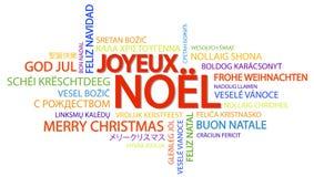 词云彩圣诞快乐& x28; 在French& x29; 免版税库存照片