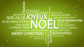 词云彩圣诞快乐& x28; 在French& x29; 图库摄影
