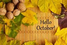 词你好在土气背景的10月 库存图片