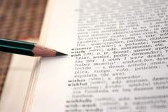 词典英语-西班牙语愿望字 免版税库存照片