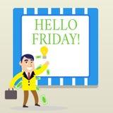 词写发短信给你好星期五 企业概念为使用表示从新星期初期的高兴  向量例证