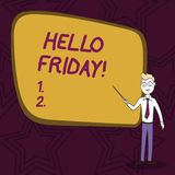 词写发短信给你好星期五 企业概念为使用表示从确信新星期的初期的高兴  库存例证