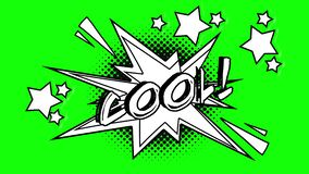 词凉快的飞行的可笑的动画在泡影外面的 绿色屏幕 库存例证
