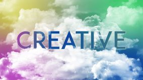 词创造性在云彩,五颜六色的天空 向量例证