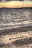 词和平的鸟瞰图在海滩的 库存图片