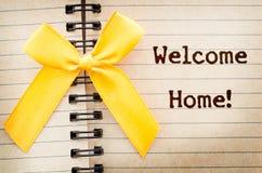 词在一张老棕色日志纸下t欢迎在家写 免版税图库摄影