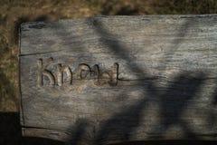 词在木头知道雕刻,在一个木板,台式视图机智 库存图片