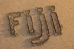 词在海滩写的斐济 库存照片