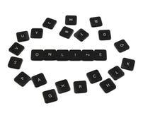 词在网上由被隔绝的键盘按钮制成 免版税库存图片