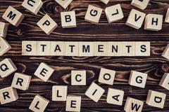 词声明顶视图由木块做成 免版税库存图片