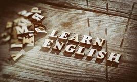 词学会用木信件做的英语 免版税库存图片