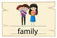 词家庭的Wordcard设计 皇族释放例证