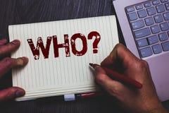 词对表示怀疑的文字文本 请求的某人的特定名称人个性笔记薄记号笔ide企业概念 免版税库存图片