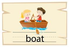 词小船的Wordcard模板 库存例证