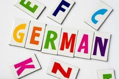 词德语由五颜六色的信件做成 免版税图库摄影