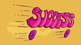 词成功的Dinamic例证,滑倒在轮子 库存图片