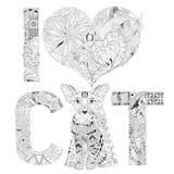 词我爱上色的CAT 传染媒介装饰zentangle对象 皇族释放例证