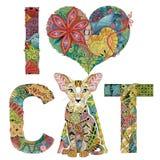 词我爱与猫图的CAT  传染媒介装饰zentangle对象 皇族释放例证