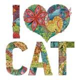 词我爱CAT 传染媒介装饰zentangle对象 向量例证