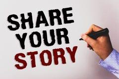 词文字文本份额您的故事 经验讲故事乡情想法记忆个人文本白色bac的企业概念 免版税库存图片