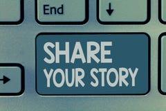 词文字文本份额您的故事 要求的某人大约的他自己企业概念写生活传记 免版税库存照片