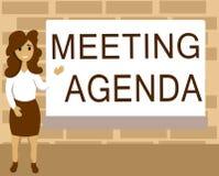 词文字文本会议议程 议程的企业概念设置什么的清楚的期望需要会议 库存例证