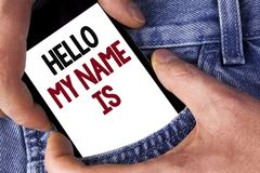 词文字文本你好我的名字是 遇见的某人企业概念在机动性写的新的介绍采访介绍 免版税库存照片