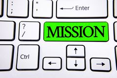 词文字文本使命 公司目标重要任务在绿色Ke写的营业目的和焦点的企业概念 图库摄影
