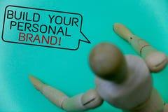 词文字文本修造您的个人品牌诱导电话 创造的成功的公司深蓝背景ro企业概念 库存照片